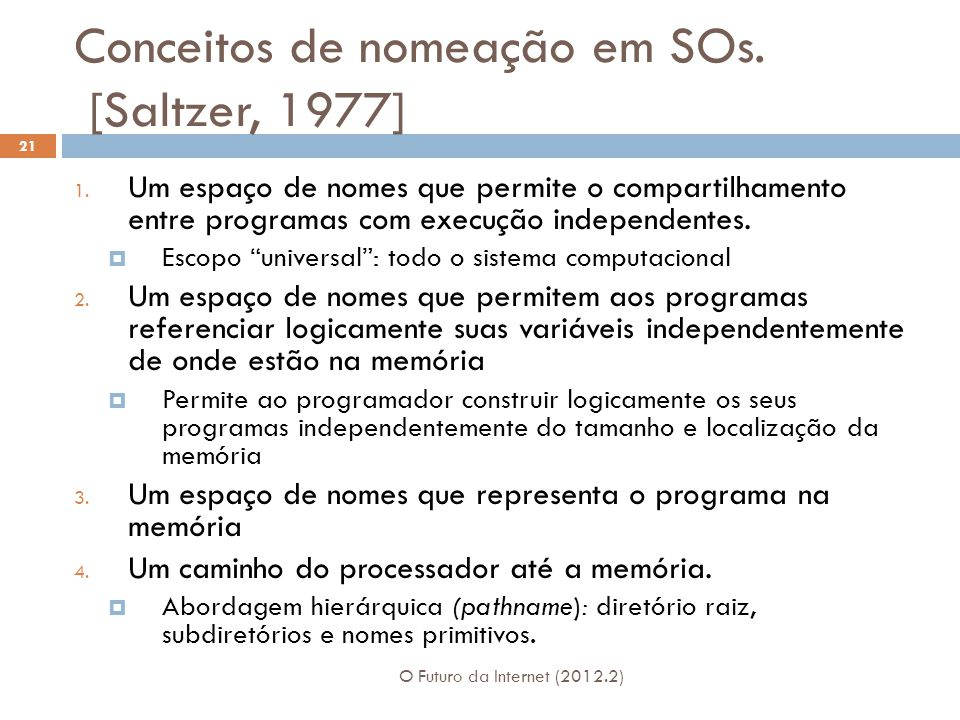 Conceitos de nomeação em SOs. [Saltzer, 1977]